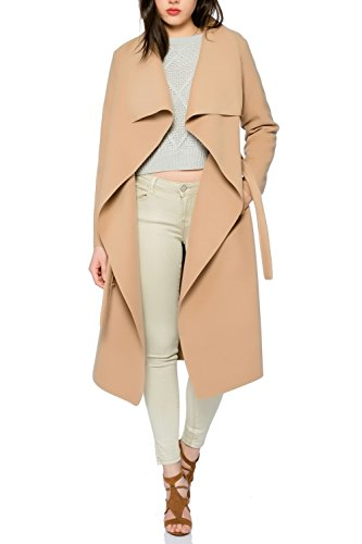 31L4INueFgL - Kendindza Damen Mantel Trenchcoat mit Gürtel OneSize Lang und Kurz (OneSize, Camel Lang)