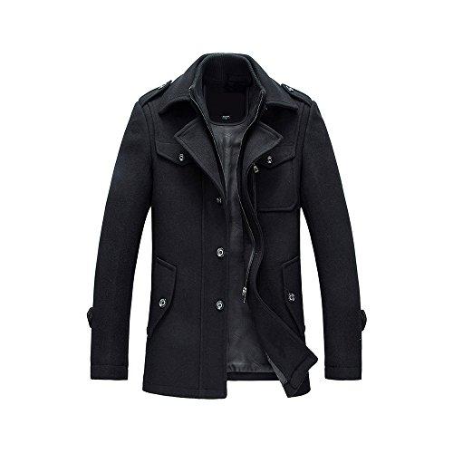 41OzM9kXObL - YOUTHUP Herren Wintermantel mit Stehkragen und Hochwertige Materialqualität Lange Jacke