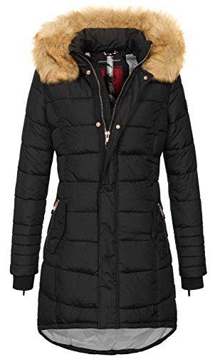 41YWU2zjbdL - Navahoo Papaya Damen Winter Jacke Steppjacke Mantel Parka gesteppt warm B374 [B374-Schwarz-Gr.S]