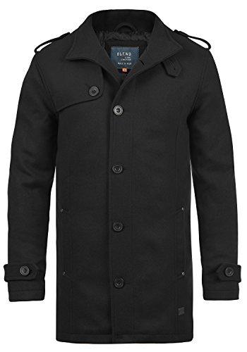 41nkF4kpEcL - Blend Warren Herren Wollmantel Lange Jacke Mit Stehkragen, Größe:XL, Farbe:Black (70155)