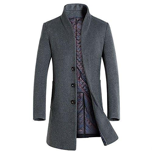 51GGsqecpjL - Slim Fit Herren stilvoller WollMantel Winter Business (Large, grau)