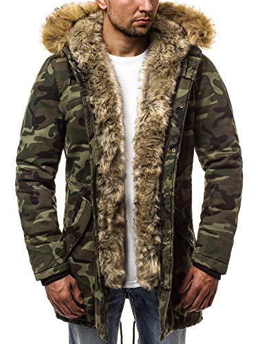 51ZYr2IzbwL - OZONEE Herren Winterjacke Parka Parkajacke Jacke Kapuzenjacke Wärmejacke Wintermantel Coat Wärmemantel Warm Modern Camouflage Täglichen 777/037K GRÜN-CAMO L