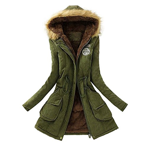 Elecenty Damen Wintermantel Winterjacke Reißverschluss Übergröße Outwear Baumwollkleidung Parkajacke Mantel Jacke Reißverschluss Oberbekleidung Trenchcoat mit Pelz Halsband (S, Armeegrün)