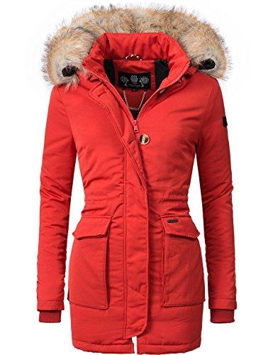Navahoo Damen Winter-Jacke Winter-Mantel Schneeengel (vegan hergestellt) Rot Gr. XL