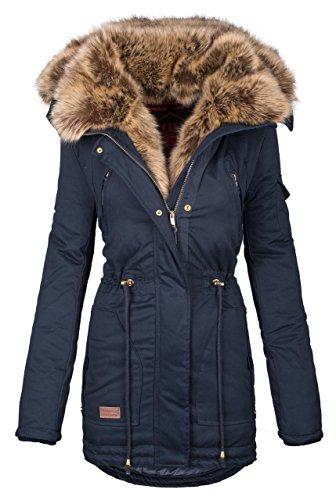 Navahoo warme Damen Winter Jacke Parka lang Mantel Winterjacke Fell Kragen B380 [B380-Navy-Gr.L]